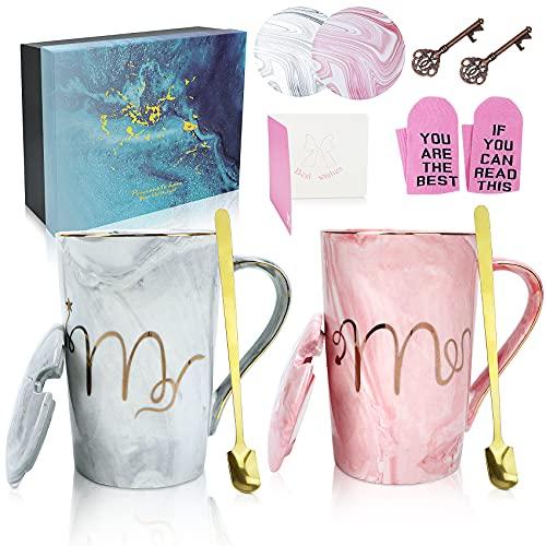 Mr und Mrs Kaffeetassen mit Marmorierung Mustern 12oz, Keramik kaffeebecher, Hochzeits geschenke für brautpaar, Geschenk für Geburtstage, Valentinstag , Jubiläum und Weihnachten