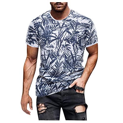 YANFANG Camisa Retro Estampada De Manga Corta Moda Casual para Hombres Primavera Y Verano,Camisa BáSica Mujer Blusa Camiseta T-Shirt Top Masculino,2-Blanco,M