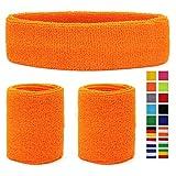HikBill Schweißbänder Set inkl Sport Stirnband und Handgelenk Schweißbänder für Laufen Fahrrad Joggen Tennis Fußball (Orange)