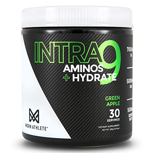 MDRN Athlete Intra9   All 9 Essential Amino Acids EAA   7 Grams   2:1:1 Branched Chain Amino Acids BCAA   Keto   Recovery and Enhanced Hydration   Green Apple (30 Servings)