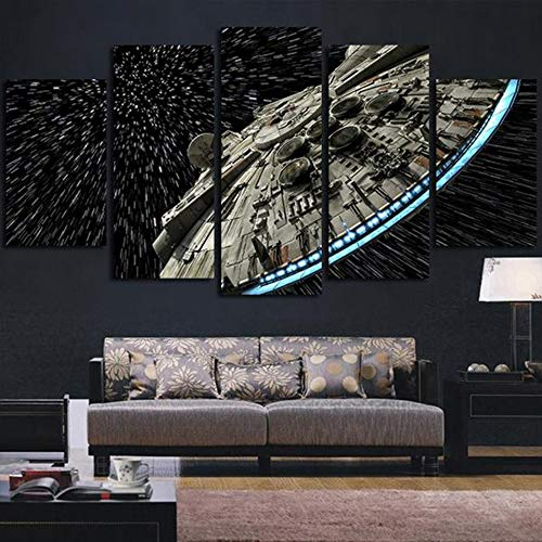 XSYYQYLL Moderne Wandkunst-Bilder, Heimdekoration, Poster, Star Wars Destroyer Millennium Falcon Wohnzimmer, HD gedruckter Gemälde, Leinwanddrucke (Farbe: ohne Rahmen, Größe (cm): Größe 3)