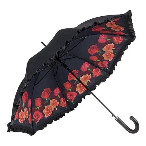 VON LILIENFELD Regenschirm Rosenbouquet Blumen Auf-Automatik Damen Double Layer Stabil Stockschirm Floral Rüschen
