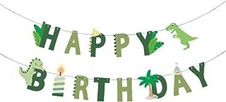 Party Hive Cute Green Dinosaur Happy Birthday Banner Kids Party Celebration Decorations Supplies (Dino Jurassic Birthday B...