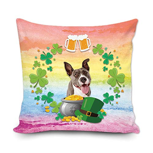 BAGEYOU Funda de almohada decorativa con diseño de trébol de trébol verde con texto en inglés 'My Love Dog Pitbull Green Hat Golden Beer Decor Throw Cover de cojín de 45,7 x 45,7 cm