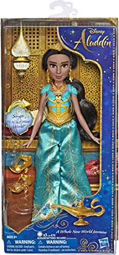 Disney Singing Jasmine Doll with Outfit & Accessories, Inspired by Disneys Aladdin Live-Action Movie, Sings A Whole New World, Toy for 3 Year Olds