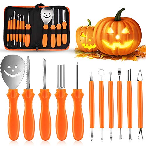 Eyscoco Halloween Kürbis Schnitzset, 11er Set Edelstahl Kürbis Schnitzwerkzeug,Kürbis Schnitzen Kürbis Carving Set mit Tragetasche für Erwachsene und Kinder