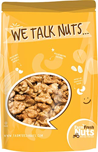 Walnuts - Shelled California - Dry Roasted Salted With Himalayan Salt - Great Source of Omega 3 and Tons of Other Healthy Nutrients- Super Crunchy - (2 LB) - Farm Fresh Nuts Brand