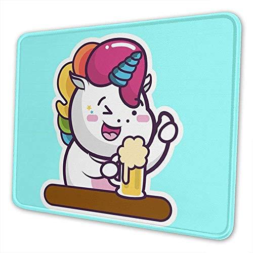 Eenhoorn met biercartoon muismat individueel aanpasbaar uniek muispad computer toetsenbord randen genaaid grote muismat bureauhoes ideaal voor PC en laptop