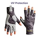 Tocawe Fishing Fingerless Gloves UV Protection Sun Gloves Waterproof Outdoor Gloves for Men & Women for Hiking, Paddling, Driving, Canoeing, Kayaking, Rowing (L/XL, Camouflage Black)
