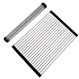 VAPSINT Brushed Nickel Stainless Steel Folding Black Roll Up Dish Drying Rack