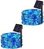 CHOUREN Luces de la secuencia al aire libre a prueba de agua solares, 2 Paquete de 100 LED 32.8ft 8 modos de alambre de cobre solares Luz de Navidad for el partido casero decoración de vacaciones