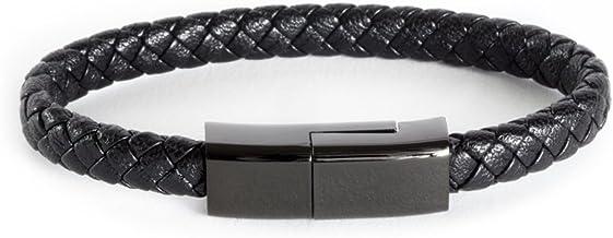 Dzzkoye USB Type C Cable Bracelet for Men Samsung S8 Short Portable Leather Charger (M)