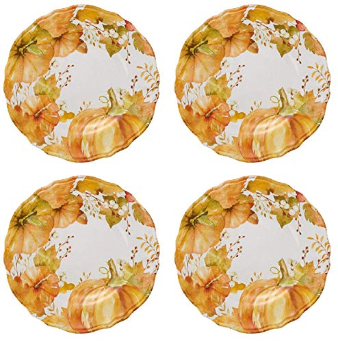 Northeast Harvest Autumn Fall Thanksgiving Pumpkin and Leaves Melamine Salad Plates, Set of 4