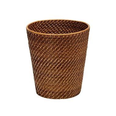 KOUBOO 1030011 Round Rattan Waste Basket, 10.25  x 10.25  x 11 , Honey Brown