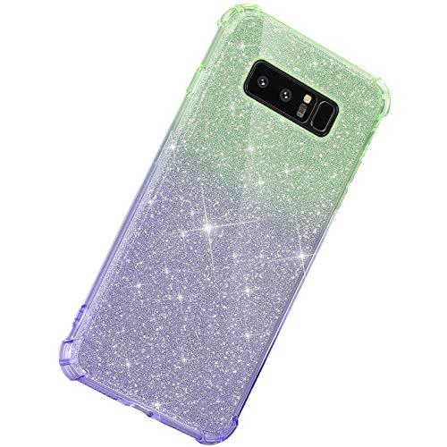 Herbests Kompatibel mit Samsung Galaxy Note 8 Hülle Durchsichtig Farbverlauf Glänzend Kristall Glitzer Transparent TPU Silikon Handyhülle Ultradünn Stoßfest Bumper Case Schutzhülle,Grün Lila