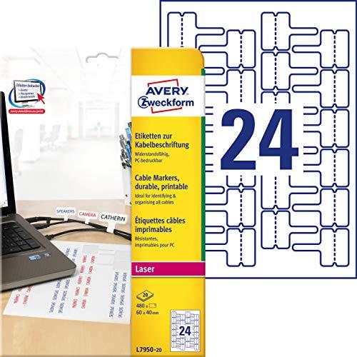 AVERY Zweckform L7950-20 Kabeletiketten (60x40 mm auf DIN A4, Laser, extrem stark selbstklebend, reißfest, bedruckbare Klebefolie ideal zum Kennzeichnen von Kabeln) 480 Aufkleber auf 20 Blatt weiß