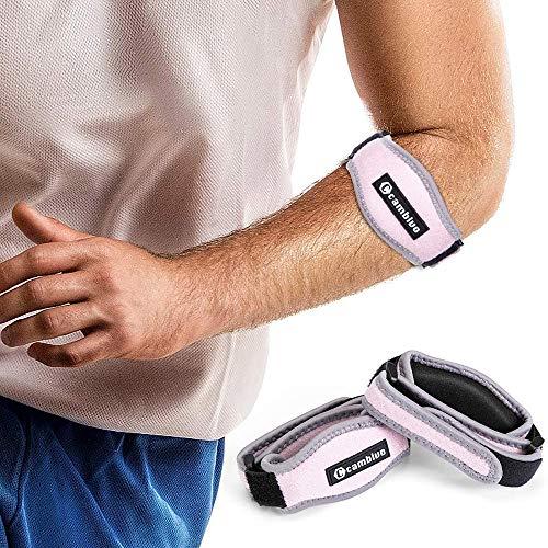 CAMBIVO 2 x Ellenbogen Bandage Damen und Herren, Sportbandage, elastische Tennisarm und Golferarm Manschette mit Kompressionspolster für Sport, Fitness, Tennis (Rosa)