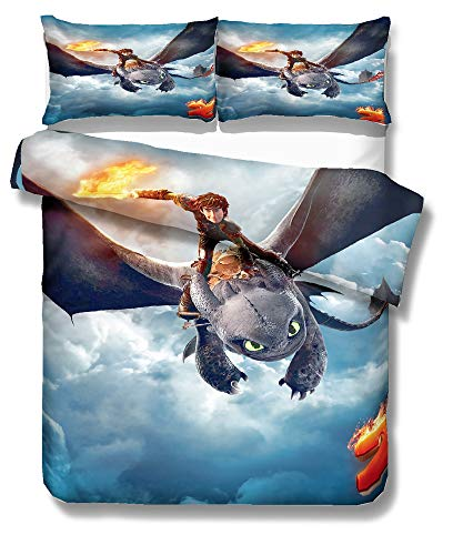 ZZALL How to Train Your Dragon Duvet Cover Set - Duvet Cover and Pillow Case, Microfibre, 3D Digital Print Three-Piece Bedding (Style #02,135 x 200 cm)
