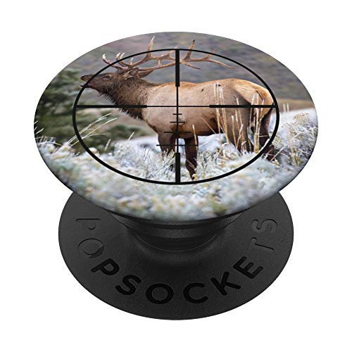 Bull Elk Hunting Rifle Scope View PopSockets PopGrip: Swappable Grip for Phones & Tablets