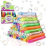 FORMIZON Pompas de Jabón, 48 Piezas Varita de Burbuja, Pomperos de Jabón Varita de Burbuja, Tubos para Crear Burbujas de Jabon para Bodas, Bautizos, Cumpleaños, Juguetes Regalos para Niños y Niñas