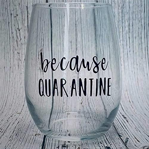Copa de vino grabado con cuarentena, cristal sin tallo, decoración de fiesta, perfecto para padre, mamá, niño o amiga