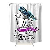 KUPEN Crow White Hat Modern Textilien 2019 - Cortina de Ducha para Cuarto de baño, diseño artístico con Ganchos de ABS, poliéster, Blanco, 180 x 200 cm