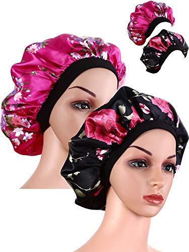 2 Pièces Large Bande Bonnet en Satin Bonnet de Sommeil Doux Chapeau de Sommeil de Nuit pour les Femmes et les Filles (noir et rose rouge)