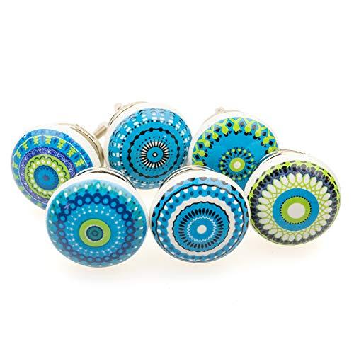 Möbelknopf Möbelknauf Möbelgriff 6er Set 101GN gemischt blau Mosaik - Jay Knopf Keramik Porzellan handbemalte Vintage Möbelknöpfe für Schrank, Schublade, Kommode, Tür