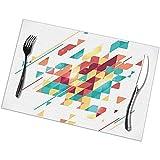 Manteles Individuales De Cocina Colorido Abstracto Geométrico Plano Colorido Mosaico Moderno Negocio Para Su Presentación Manteles Individuales De Navidad Mesa De Comedor De Pascua Juego De 6 Ta