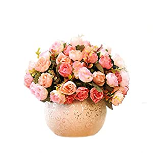tellm artificial set continental flowers roses home living room table decoration decorations vase flower arrangements silk flower arrangements