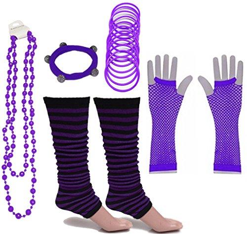 A-Express Mujer Chicas Calentador de Pierna Rayas Collar Pulsera Caucho Guantes para Tutu Fiesta Disfraces Un tamaño para Todos - Púrpura