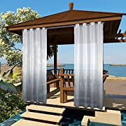 """Outdoor Curtain Gradient Voile Curtain, Light Filtering & Privacy Protection Ombre Sheer Curtains Semi Sheer Gradient Drape for Garden Patio Gazebo Porch Decor, 2 Panels (54"""" x 84"""", Gradient Grey)"""