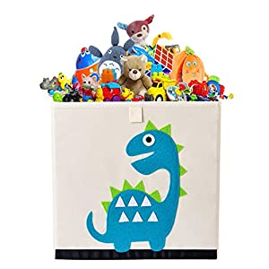 Bagnizer Animal Kids Toy Storage Organizer Foldable Toy Chest Fabric Toy Bin/Boxes/Basket/Trunk for Girls and Boys Kids Toddler Nursery, 13inch Cube, Bluegreen Dinosaur