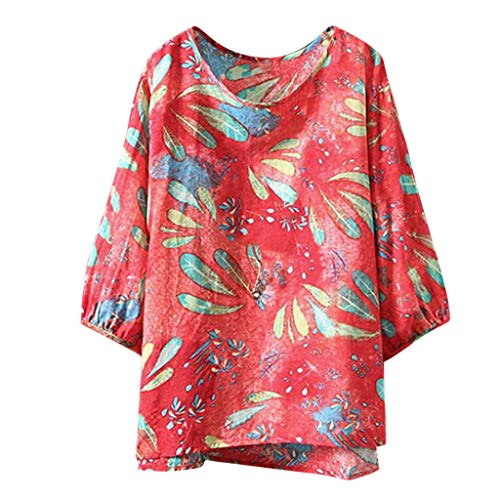 Read About CGKUITER Women Casual Floral Print Blouse Short Sleeve Loose Top Shirt Tee Pink