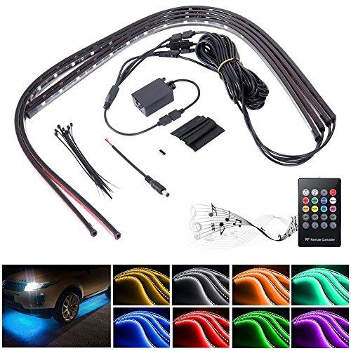 Zreal 4 in 1 LED RGB-lamp voor gebruik binnenshuis van auto's, hoofdband, neon, waterdicht, met spraakactivering en draadloos, autolader, 90 * 120cm
