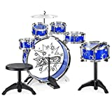 Best Choice Products 11-Piece Kids Starter Drum Set w/Bass, Tom Drums, Snare, Cymbal, Stool, Blue