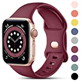 CeMiKa Compatible con Apple Watch Correa 38mm 42mm 40mm 44mm, Deportivas de Silicona Correas de Repuesto Compatible con iWatch SE Series 6 5 4 3 2 1, 38mm/40mm-S/M, Vino Rojo