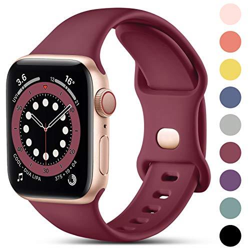 CeMiKa Compatible con Apple Watch Correa 38mm 42mm 40mm 44mm, Deportivas de Silicona Correas de Repuesto Compatible con iWatch SE Series 6 5 4 3 2 1, 38mm/40mm-S/M, Vino Rojo