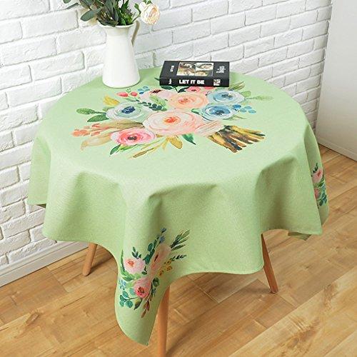 LWF-Nappe européenne Pastorale fraîche table ronde Tissu coton restaurant créatif nappes Table basse chiffon à poussière Nappes rondes de ménage Nappes fraîches de fleurs