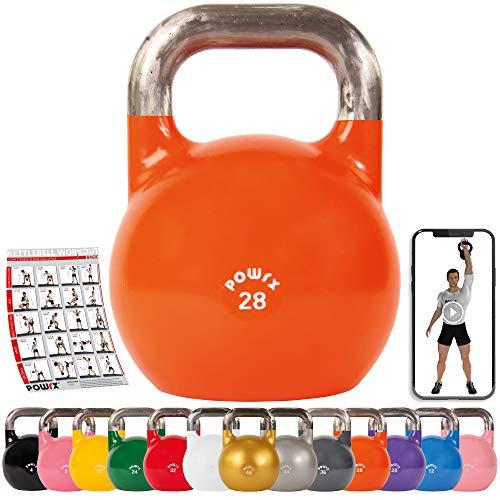 POWRX Kettlebell Kugelhantel Competition Wettkampf 4-48 kg (1x Orange 28 kg)