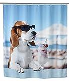Wenko 22492100 Duschvorhang Cool Dog, waschbar, wasserabweisend mit 12 Duschvorhangringen, 100prozent Polyester, 180 x 200 cm, mehrfarbig