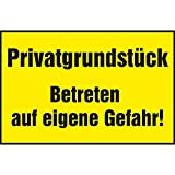 Warnschild 'Privatgrundstück - Betreten auf eigene Gefahr!' | 250x150 mm | gelb/schwarz | 1 Stück