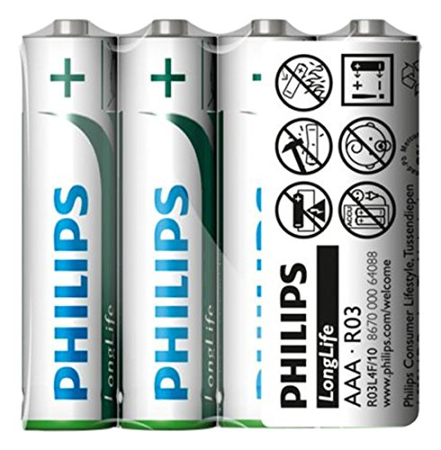 Philips LongLife Batterie R03L4F/10 - Piles domestiques (Single-Use Battery, AAA, Zinc-Carbone, 1,5 V, 1 pièce(s), 3 année(s))