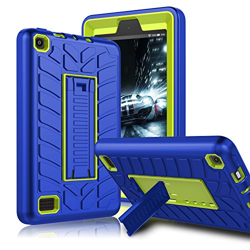Zenic All-New Amazon Fire 7 2017 Case, Three Layer Heavy Duty Shockproof Full-body Protective Hybrid Case With Kickstand for Kindle Fire 7 2017 / All-New Fire HD 7 (Yellow/Blue)