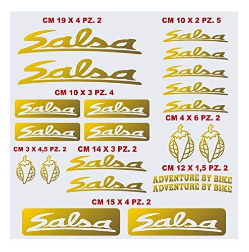 Salsa Aufkleber-Set für Fahrrad, kompatibel mit MBK Fahrrad-Aufklebern, Farbe wählbar, Artikelnummer 1441 (091 Gold)