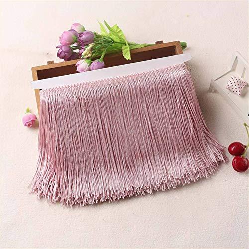 LucaSng 10 metros de largo y 15 cm de ancho, borla sedosa con flecos cortados, disfraz de borla, accesorio de costura (cuero rosa)