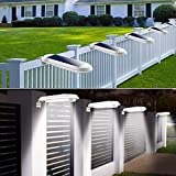 4 PCS JSOT Solar Deck Lights Outdoor Waterproof 18 LED Solar Gutter Lights for Yard Walkways Stairs Patio Pathway Step Driveway (Cool White, 4 Pack)