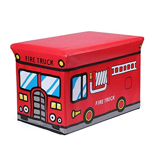 Cartoon Car Storage Box, Small Sofa Shoe Change StoolClothes Toy Storage Stool, for Kids' Christmas Holiday Best Gift Chests Boxes Red Fire Truck