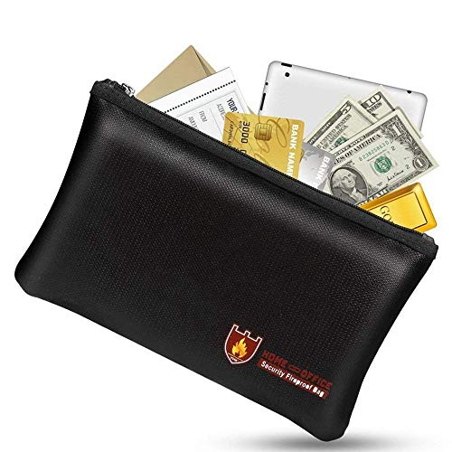 Bolsas para documentos a prueba de fuego, bolsa impermeable e ignífuga con cremallera a prueba de fuego para iPad, dinero, joyas, pasaporte, almacenamiento de documentos (27x16cm)
