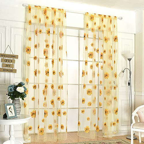 Sunflower Sheer Voile Shade Curtain Offset Print Tulle Window Door Drape Curtain for Bedroom Living Room Balcony Coffee House